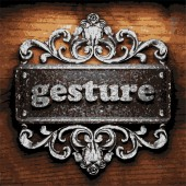 Gesture vector metal word on wood — Stockvektor