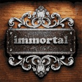 Immortal vector metal word on wood — Stock Vector