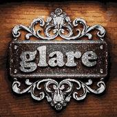 Glare vector metal word on wood — Stock Vector