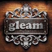Gleam vector metal word on wood — Stock Vector