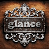 Glance vector metal word on wood — Stock Vector