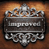 Improved vector metal word on wood — Stock Vector