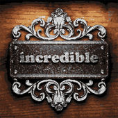 Incredible vector metal word on wood — Vector de stock