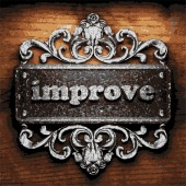 Improve vector metal word on wood — Vector de stock