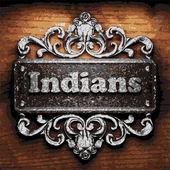 Indians vector metal word on wood — Vector de stock