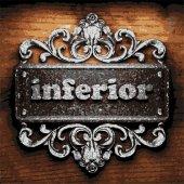 Inferior vector metal word on wood — Stock Vector