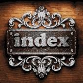 Index vektor metall word på trä — Stockvektor