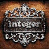 Integer vector metal word on wood — Stock Vector