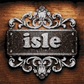 Isle vector metal word on wood — Stock Vector