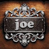 Joe vector metal word on wood — Stock Vector