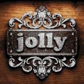 Jolly vector metal word on wood — Stock Vector