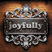 Joyfully vector metal word on wood — Stock Vector