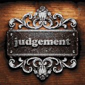 Judgement vector metal word on wood — Stock Vector