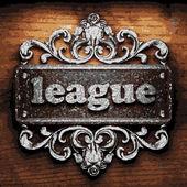 League vector metal word on wood — Stock Vector