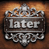 Later vector metal word on wood — Stock Vector