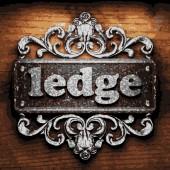 Ledge vector metal word on wood — Stock Vector
