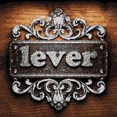 Lever vector metal word on wood — Stock Vector
