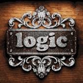 Logic vector metal word on wood — Stock Vector