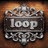 Loop vector metal word on wood — Stockvektor