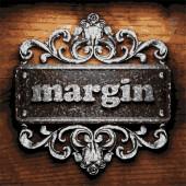 Margin vector metal word on wood — Stock Vector