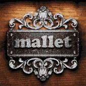 Mallet vector metal word on wood — Stock Vector