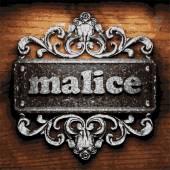 Malice vector metal word on wood — Stock Vector