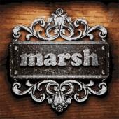 Marsh vector metal word on wood — Stock Vector