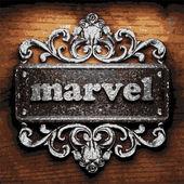 Marvel vector metal word on wood — Stock Vector