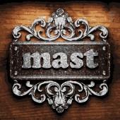 Mast vector metal word on wood — Stock Vector