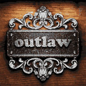 Outlaw vector metal word on wood — Stock Vector