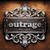 Outrage vector metal word on wood — Stock Vector