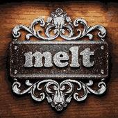 Melt vector metal word on wood — Stock Vector