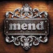 Mend vector metal word on wood — Stock Vector