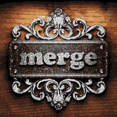 Merge vector metal word on wood — Stock Vector