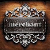 Merchant vector metal word on wood — Stock Vector