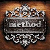 Method vector metal word on wood — Stock Vector