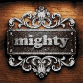 Mighty vector metal word on wood — Stock Vector