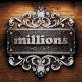 Millions vector metal word on wood — Stock Vector