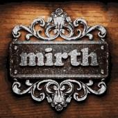 Mirth vector metal word on wood — Stock Vector