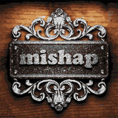 Mishap vector metal word on wood — Stock Vector