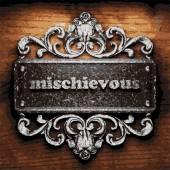 Mischievous vector metal word on wood — Stock Vector