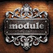 Module vector metal word on wood — Stock Vector