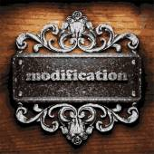 Modification vector metal word on wood — Stock Vector