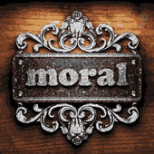 Moral vector metal word on wood — Stock Vector