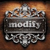 Modify vector metal word on wood — Stock Vector