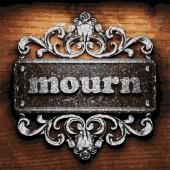 Mourn vector metal word on wood — Stock Vector