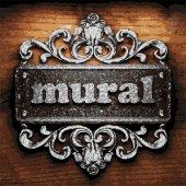 Mural vector metal word on wood — Stock Vector