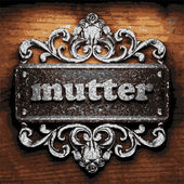 Mutter vector metal word on wood — Stock Vector