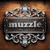 Muzzle vector metal word on wood — Stock Vector