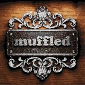 Muffled vector metal word on wood — Stock Vector